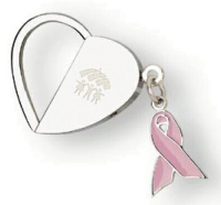 This heart-shaped key holder includes a pink breast cancer awareness ribbon