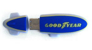 A custom flash drive shaped like the Good Year Blimp