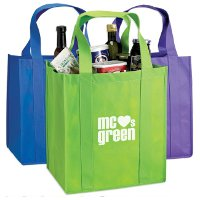 This nonwoven polypropylene tote bag is recyclable, and includes reinforced handles for sturdiness When it comes to businesses' marketing and advertising efforts, one promotional product category is a classic: bags and totes. Promotional tote bags are a favorite for trade shows and conferences. They're getting even more attention thanks to new eco-friendly tote bags designed for grocery shopping, which help our environment and your brand at the same time.  What makes a shopping tote eco-friendly? First, it must be reusable. All around the nation, communities are banning single-use plastic and paper grocery bags. These bags consume precious resources and clog up our landfills. It's important that we stop using these bags and make the switch to sturdy tote bags that can be used again and again.  The next keyword is recycling. Some eco-friendly tote bags are recyclable and others are made of recycled materials. Either way, this conserves materials and energy, which are key environmentally friendly qualities. A popular recyclable eco-friendly tote bag material is non-woven polypropylene, and a recycled option is RPET, which is made from the