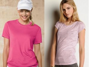 The Hanes Cool Dri moisture-wicking tee and Bella Bernadette Burnout tee both come in shades of pink.