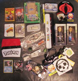 flickr user ~Misty~ shared this image of swag she scored at a trade show