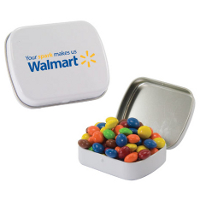 A sleek tin filled with mints, candy, or gum